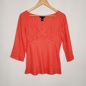 Ann Taylor Coral Irish Linen 3/4 Sleeve Shirt